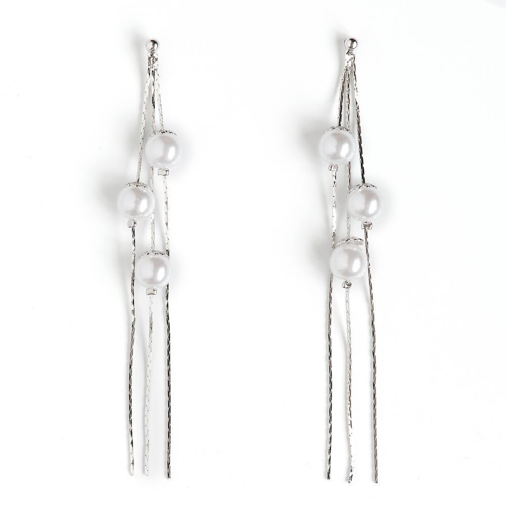 Серьги жен. Selena Селена Street Fashion, цвет: белый, серебристый. 2008942020089420Искусственный жемчуг. Гальваническое покрытие: родий.