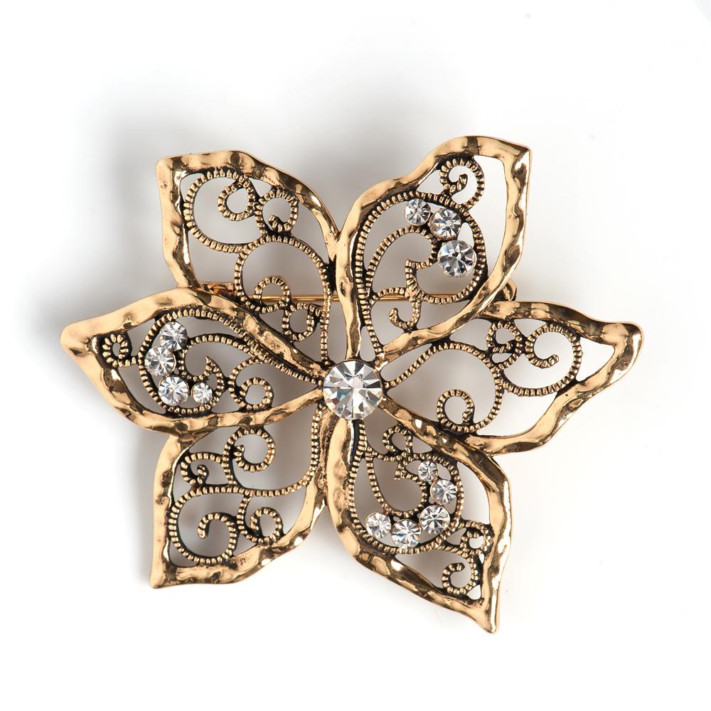 Брошь жен. Selena Селена Street Fashion, цвет: золотистый. 3002647030026470Кристаллы Preciosa. Гальваническое покрытие: золото.