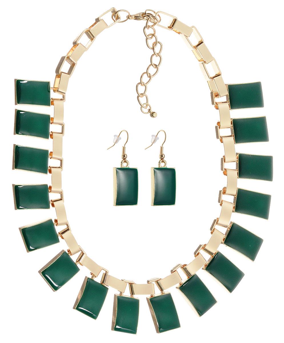 Комплект украшений Happy Charms Family: ожерелье, серьги, цвет: золотой, зеленый. NOAH0019