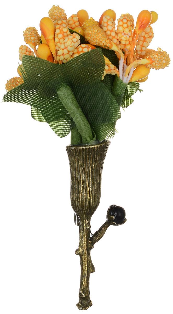 Брошь Happy Charms Family, цвет: золотой, оранжевый, зеленый. NOAK0223NOAK0223Оригинальная брошь Happy Charms Family изготовлена из ювелирного сплава, акрила и текстиля. Украшение оформлено в виде небольшого букета. Изделие застегивается на классическую английскую булавку. Стильная брошь придаст вашему образу изюминку, подчеркнет красоту и изящество вечернего платья или преобразит повседневный наряд.