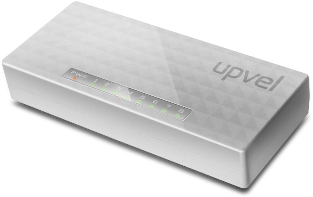 UPVEL US-8F коммутаторUS-8F8-ми портовый коммутатор UPVEL US-8F позволяет объединить в одну сеть несколько компьютеров и передавать данные со скоростью до 100 Мбит/с. Коммутатор поддерживает функцию Auto-MDIX, полудуплексный и дуплексный режимы передачи данных и технологию Plug & Play.