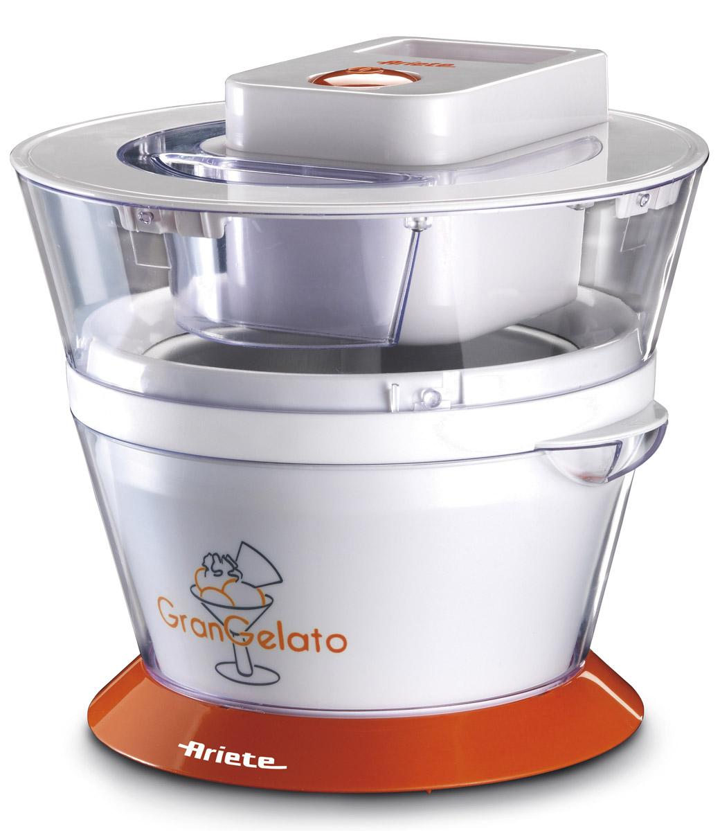 Ariete 638 Gran Gelato мороженица638Ariete 638 Gran Gelato — это удобная и компактная мороженица. В съемной чаше объемом 1 литр вы сможете приготовить вкусное лакомство сразу для всей семьи. За счет съемных деталей Ariete 638 очень легко мыть, а эргономичный дизайн позволяет компактно хранить прибор. Аппарат специально оборудован прозрачной крышкой для удобства контролирования процесса приготовления. Теперь у вас есть шанс приготовить вкусное мороженое меньше, чем за час. Все, что от вас потребуется, — это поместить в мороженицу необходимые ингредиенты и после приготовления поместить мороженое в холодильник охладиться.