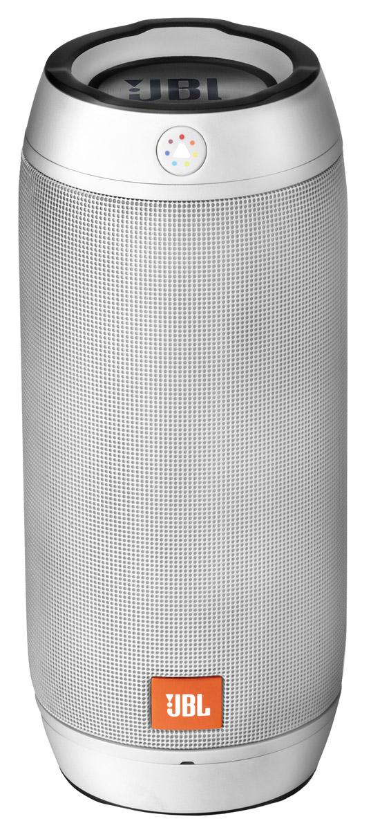 JBL Pulse 2, Silver портативная акустическая системаJBLPULSE2SILEUЗвук стерео. Мощность колонок 2x8 Вт. Питание от батарей, от USB. Диапазон воспроизводимых частот 85 - 20000 Гц. Отношение сигнал/шум 80 дБ. Количество полос AC 1. Широкополосный динамик 45 мм. Тип элементов питания свой собственный. Время работ 10 ч. Входы линейный (разъем mini jack). Интерфейсы Bluetooth. Функции встроенный микрофон. Влагозащищенный корпус. Размеры (ШxВxГ) 195x84x84 мм. Вес 0.77 кг (с элементами питания). Настраиваемая функция светомузыки; функция JBL Connect; 2 пассивных излучателя.