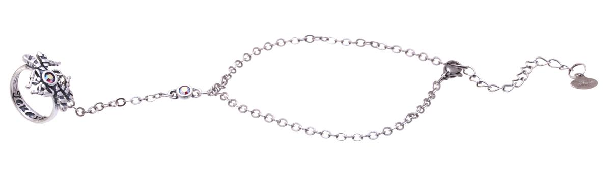 Jenavi, Коллекция Кассида, Барк (Кольцо-браслет), цвет - серебро, розовый, размер - 17k3443010Коллекция Кассида, Барк (Кольцо-браслет) гипоаллергенный ювелирный сплав,Черненое серебро, вставка Кристаллы Swarovski, цвет - серебро, розовый