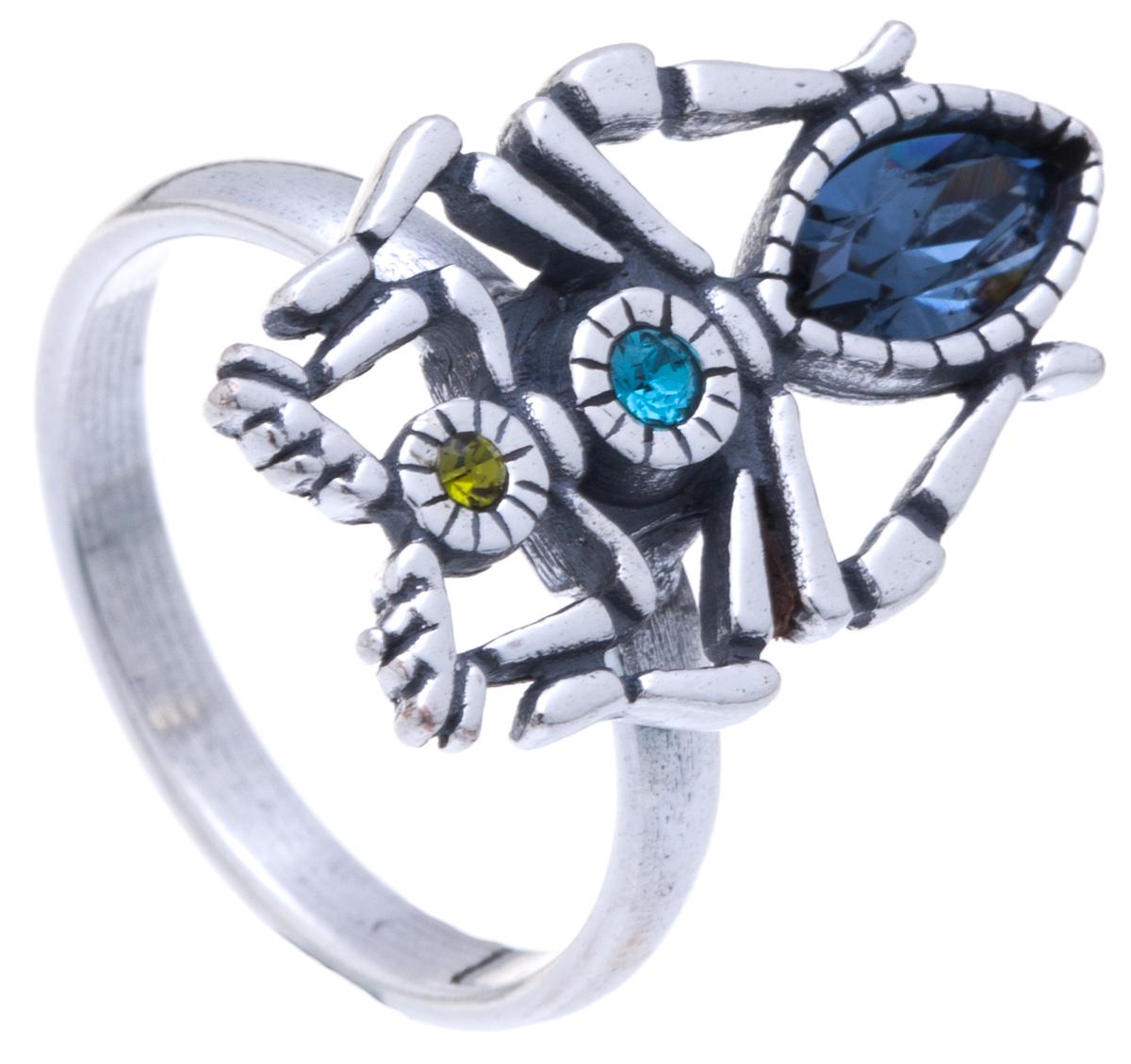 Jenavi, Коллекция Кассида, Тоурмис (Кольцо), цвет - серебро, синий, размер - 17k3393044Коллекция Кассида, Тоурмис (Кольцо) гипоаллергенный ювелирный сплав,Черненое серебро, вставка Кристаллы Swarovski, цвет - серебро, синий