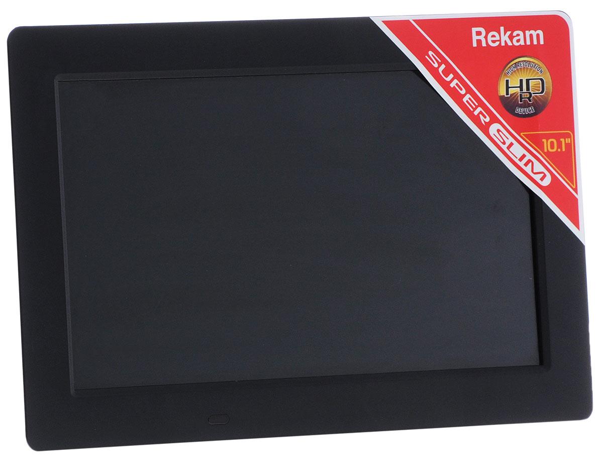 Rekam DejaView SL101 цифровая фоторамкаSL 101Настольная фоторамка Rekam DejaView SL 101 с большим экраном и тонким корпусом выполнена в строгом, классическом стиле. Узкие, черные поля с матовым покрытием максимально подчеркивают изображение. Яркий экран фоторамки станет замечательным украшением для любого стола. Диагональ экрана 10,1 дюйма позволяет хорошо видеть все детали изображения. Эта фоторамка представляет собой мультимедийное устройство с поддержкой фото, видео и аудио форматов. Рамка оснащена встроенным динамиком и разъемом для наушников, что дает возможность использовать ее как видео и аудио-плеер. Благодаря дополнительным функциям, рамка становится не только оригинальным предметом интерьера, но и по- настоящему полезным устройством для рабочего стола. Рамку можно использовать как настольный календарь и часы с одновременным показом слайд-шоу. Среди других полезных функций – будильник с возможностью настройки звонка на два события и выбором своей музыкальной композиции. Настройки слайд-шоу...