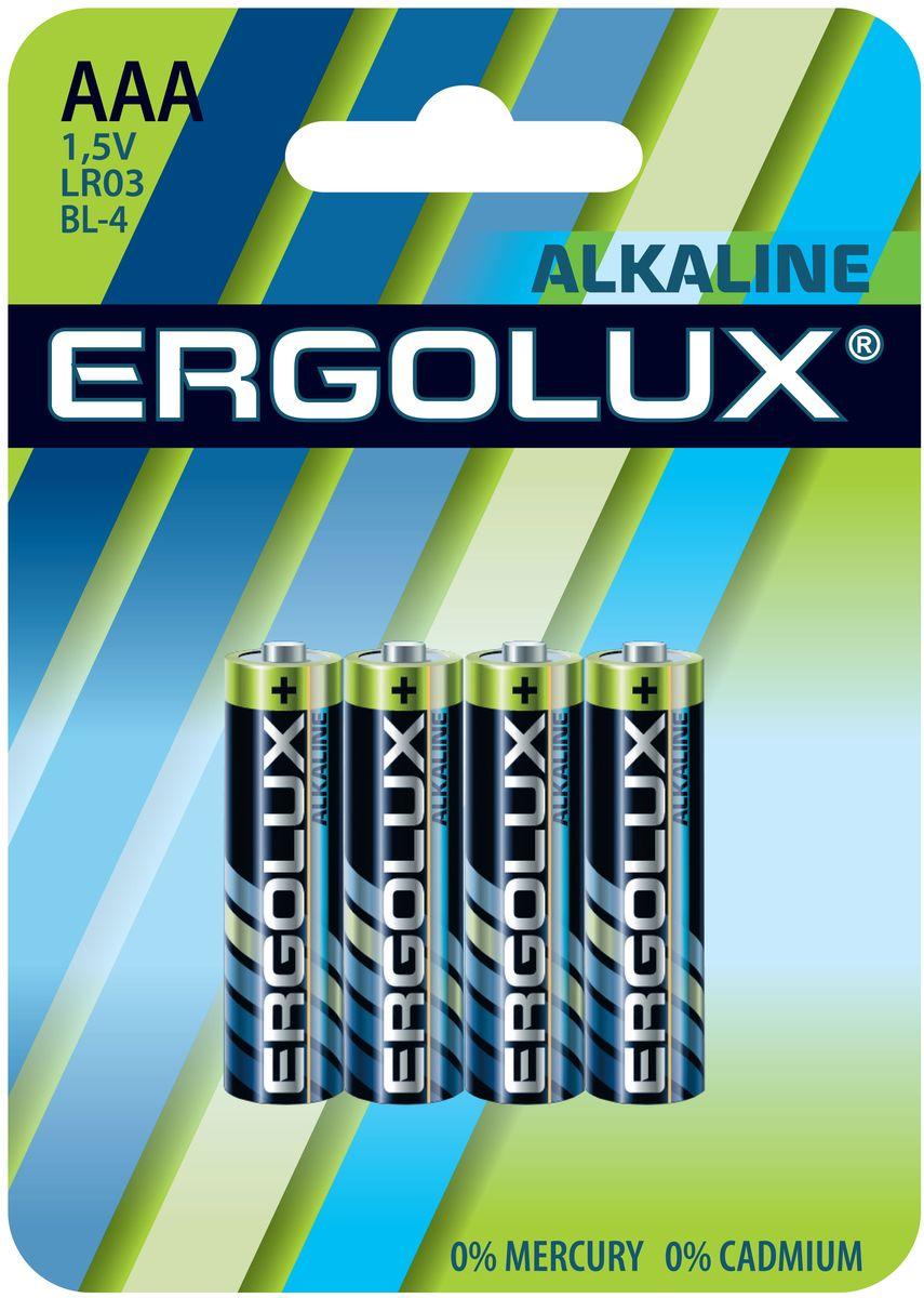 Батарейка алкалиновая Ergolux, тип ААА (LR03), 4 шт, 1,5 V11744Алкалиновые батарейки Ergolux являются щелочными элементами питания. Они не содержат кадмия и ртути. Батарейки предназначены для использования в приборах с высоким потреблением электроэнергии: фотоаппаратах, плеерах, фонарях, игрушках и других устройствах. Внимание! При установке проверить полярность. Не разбирать, не перезаряжать, не подносить к открытому огню. Не давать детям! Не устанавливать одновременно новые и использованные батарейки, а также батарейки различных систем и типов.