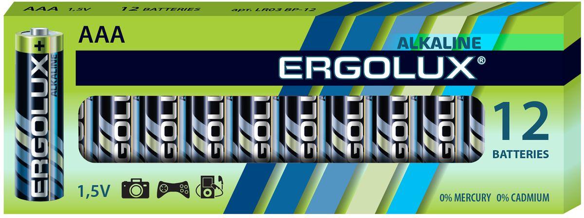 Батарейка алкалиновая Ergolux, тип LR03, 12 шт, 1.5 В11745