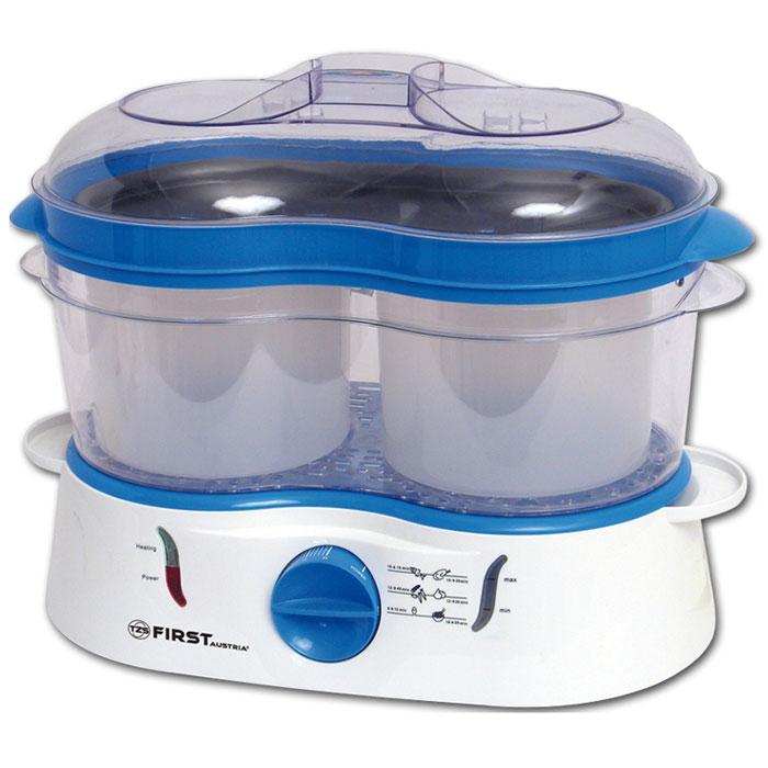 First FA-5101, Blue пароваркаFA-5101 BlueПароварка First FA-5101 идеально подойдет для бережного приготовления пищи на пару с сохранением витаминов. Две большие чаши для варки позволяют готовить 2 блюда одновременно. Данная модель оснащена беспригарочным поддоном, индикатором уровня воды и световым индикатором работы. Также имеется таймер на 60 минут.