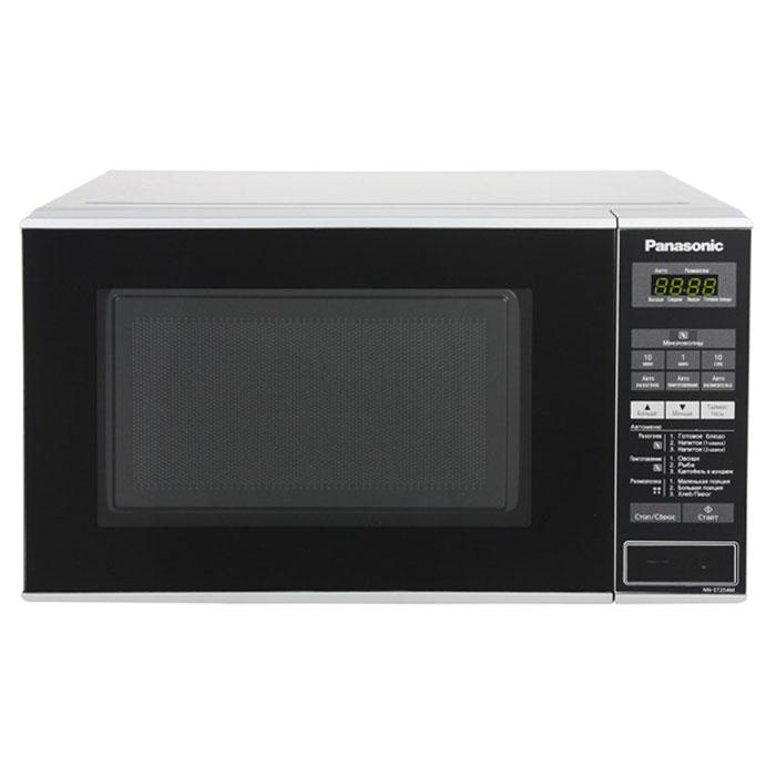 Panasonic NN-ST254MZTE микроволновая печьNN-ST254MZTEPanasonic NN-ST254MZTE - вместительная микроволновая печь, которая хорошо вписывается в интерьер современной кухни. Это функциональная модель, с помощью которого можно как разогревать еду, так и готовить различные блюда. В системе электронного управления микроволновой печи можно разобраться без лишних усилий. Есть информативный, легко читающийся дисплей и встроенные часы. Вы можете занести в память микроволновой печи наиболее понравившиеся рецепты, чтобы не тратить время на введение настроек каждый раз, когда решите их приготовить. Устройство способно хранить в своей памяти до четырёх рецептов. Данная модель имеет три режима автоматического размораживания и три режима автоматического разогрева пищи.