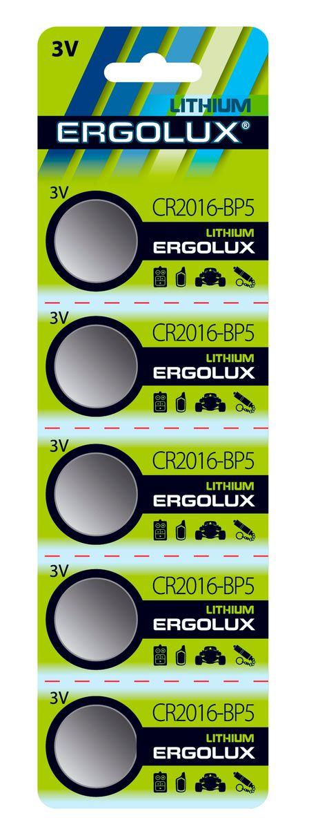 Батарейка литиевая Ergolux, тип CR2016, 5 шт, 3 В12049