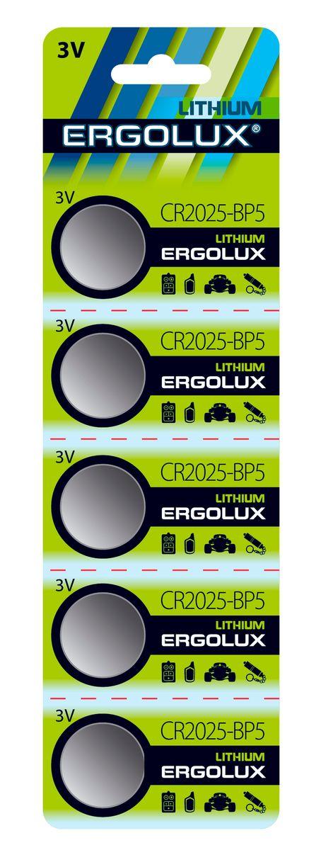 Батарейка литиевая Ergolux, тип CR2025, 5 шт, 3 В12050