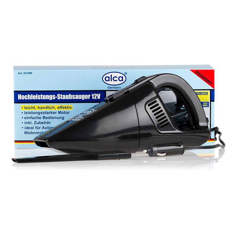 Автопылесос Alca, 12 В, 60 Вт221000Автопылесос 12 В, 60 Вт. с моющимся фильтром, кабель 3 м. для подключения к прикуривателю автомобиля. Длина кабеля: 420 см.