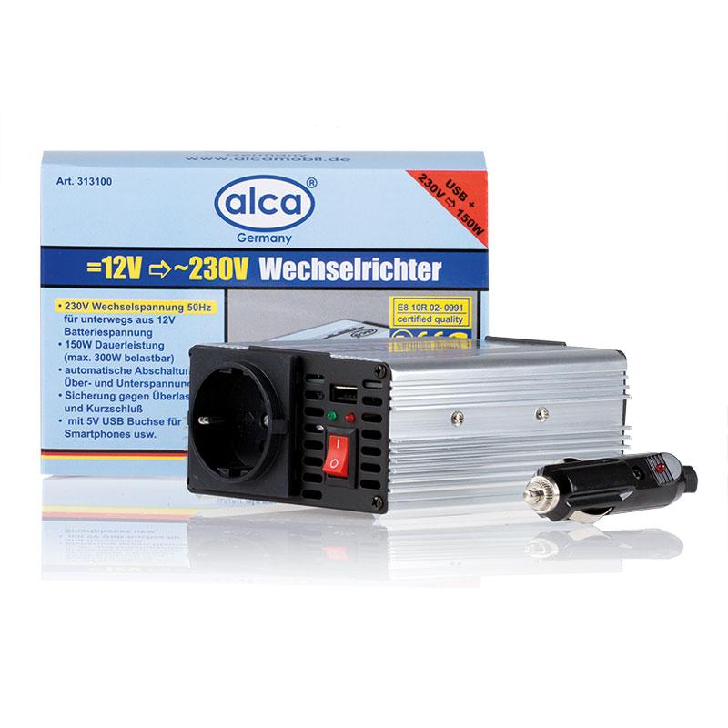Инвертор Alca, 5A 12V =>230V, 150W+USB313100Инвертор 5A 12V =>230V, 150W, с 5 В USB накопителем для смартфона и др.
