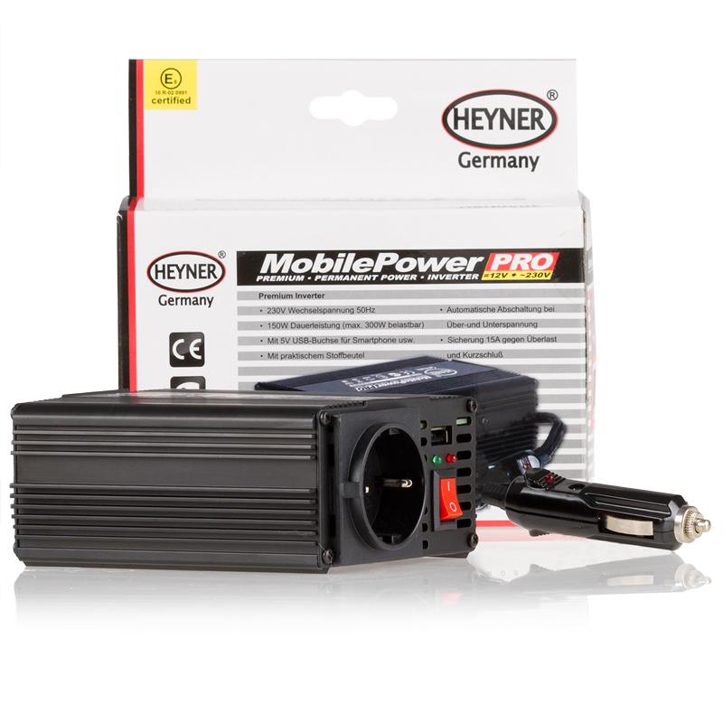 Инвертер Heyner, 12В - 230 В 150 Вт ( max. 300 Вт) + 5В USB выход для смартфона511900Инвертер 12В - 230 В 150 Вт ( max. 300 Вт) + 5В USB выход для смартфона и д.р. Сумка для хранения. E- сертификат.