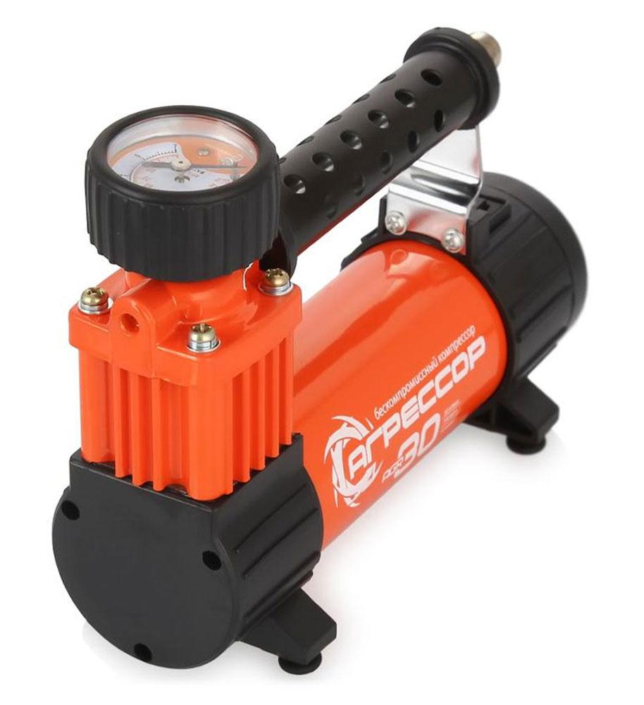 Компрессор автомобильный Агрессор AGR-30L со встроенным фонарем, металлический, производительность 30 л/мин, 12В, 140ВтAGR-30LКомпактный цельнометаллический компрессор Агрессор AGR-30L отличается наличием встроенного светодиодного фонаря. Несмотря на свои небольшие габариты, компрессор обладает производительностью 30 л/мин, поэтому его можно использовать для накачивания как автомобильных шин, так и других надувных изделий. Яркий металлический корпус компрессора устойчив к коррозии и эффективно охлаждается во время работы. Поршень двигателя оснащен уплотнительным кольцом из гибкого жаропрочного тефлона, которое обеспечивает продолжительную безотказную работу насоса. Для смазки в компрессоре используется инновационное силиконовое масло. Оно сохраняет свои качества в течение всего срока службы изделия и не требует замены или доливки. Питание компрессора осуществляется от прикуривателя автомобиля. Встроенный предохранитель защищает электродвигатель от перепадов напряжения и силы тока. Без перерыва компрессор способен проработать до 30 минут. Комплектация: ...