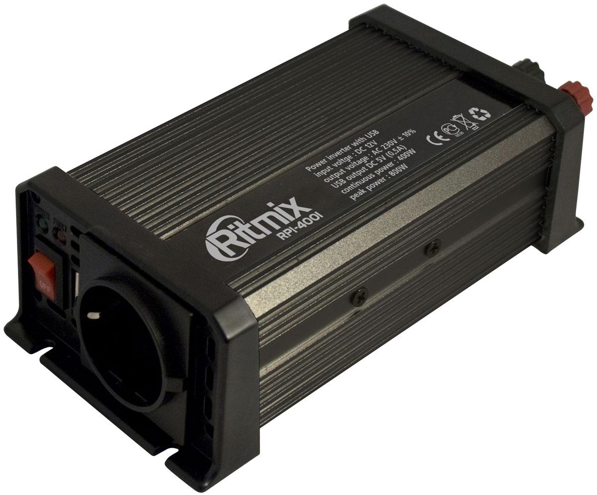 Ritmix RPI-4001 USB преобразователь напряжения15115812Ritmix RPI-4001 – автомобильный инвертор напряжения, предназначенный для питания (зарядки) электронных устройств, работающих от сети 220 вольт или от USB. Любые электроприборы, которыми вы привыкли пользоваться у себя дома, теперь работают в вашем автомобиле, куда бы вы ни поехали! Важно! При подключении к прикуривателю потребляемая мощность прибора, подключённого к инвертору, не должна превышать 250 Вт. Если к инвертору подключается несколько приборов, потребляемая ими мощность суммарно не должна превышать 250 Вт. В противном случае возможен выход из строя приборов и всей электросети автомобиля. Выходная мощность: максимальная - 400 Вт; импульсная - 800 Вт Выходное напряжение: евророзетка - 230 В; USB - 5 В Выходной ток USB: 0,5 А Выходная эффективность: до 85 % Порог отключения: при низком входном напряжении: 9,2 - 9,8 В; при высоком входном напряжении: 15 - 16 В