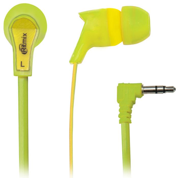 Ritmix RH-013, Green Yellow наушники15118133Ritmix RH-013 - это яркие и стильные наушники-вкладыши с амбушюрами вставного типа. Модель предназначена для использования с MP3-плеерами, планшетами, ноутбуками и имеет плоский кабель, который предотвращает провод от спутывания. Ritmix RH-013 отличаются комфортной посадкой, сбалансированным звучанием и представлены в пяти цветовых вариациях.