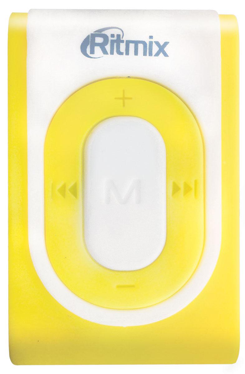 Ritmix RF-2400 4GB, White Yellow MP3-плеер15118205Ritmix RF-2400 - компактный и удобный аудиоплеер специально для тех, кто живёт активной жизнью. Благодаря надежному креплению в форме клипсы вы можете слушать музыку во время активного отдыха или занятий спортом. Управлять плеером невероятно удобно: световой индикатор иллюстрирует текущий режим работы плеера, а нажатия кнопок отзываются характерным щелчком. Перелистывайте треки и контролируйте уровень звука вслепую, легким движением одной руки.