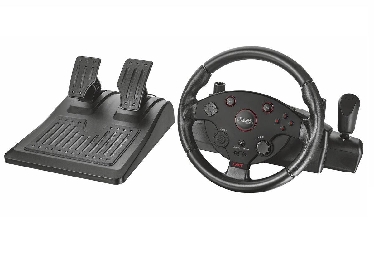 Trust GXT 288 Racing Wheel игровой руль20293Trust GXT 288 Racing Wheel - полноценное рулевое колесо с переключателем передач и ножными педалями. Прорезиненное покрытие рулевого колеса и рифлёные накладки на педали предотвращают соскальзывание рук и ног человека, которое может стать причиной проигрыша. Встроенный вибромотор имитирует тряску руля при проезде неровностей, позволяя человеку ощутить себя в салоне настоящего гоночного автомобиля. Регулировка усилия руля и скорости возврата в нейтральное положение помогает сделать удобной езду на любой скорости. Эргономичный руль, подходящий для всех видов гонок Режим Х-входа для создания вибрации и автоматического преобразования ключей для игр на ПК Регулируемая отзывчивость руля для более точного управления Ножные педали удобного размера с устойчивым нескользящим основанием Передача вибрации для создания эффекта реальных гонок Покрытый резиной руль для предотвращения проскальзывания Вращение руля на...