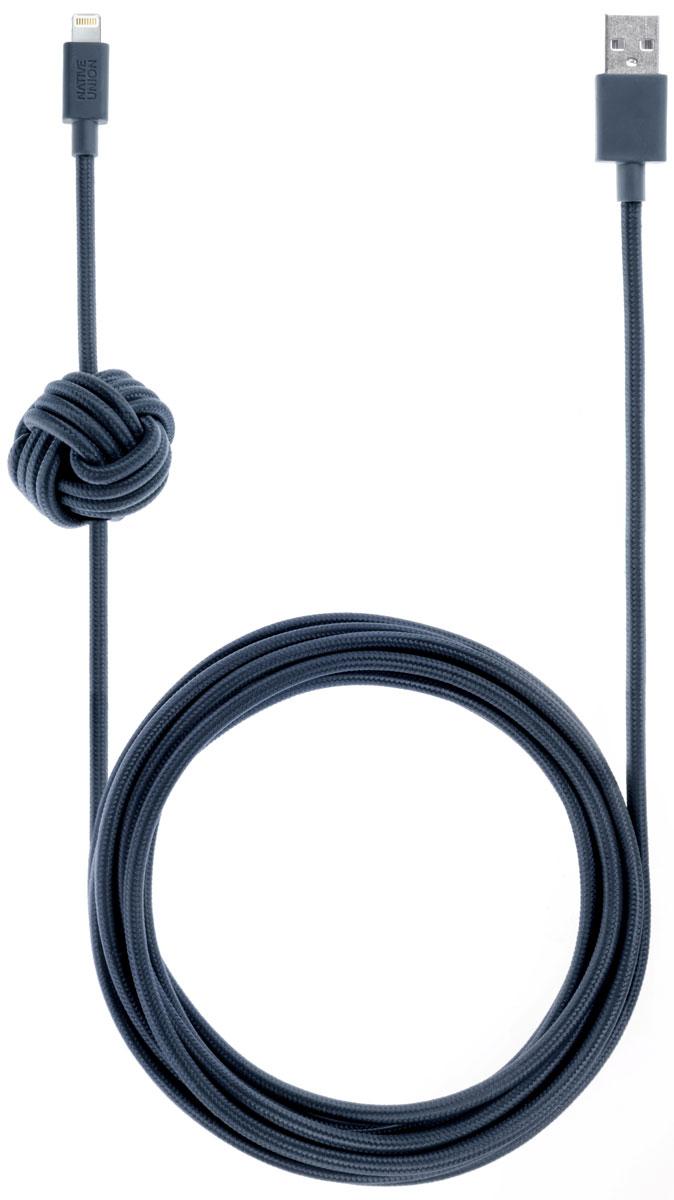 Native Union Night Cable, Blue кабель Apple Lightning с фиксатором (3 м)NCABLE-L-MARNative Union Night Cable - это уникальный аксессуар, который создан с целью подчеркнуть вашу индивидуальность. Кабель длиной 3 метра - это супер практичный размер для дома: заряжайте и одновременно наслаждайтесь вашим смартфоном независимо от вашего положения. Кроме того удобство использования добавляет фиксатор - кабель всегда на виду и в удобном для вас месте. Технические характеристики безупречны: сертификация Apple MFI, не спутывается, не перекручивается, не ломается. Сверх износостойкий, благодаря тканевой оплетки из нейлона. Native Union - это абсолютно новый взгляд на зарядные провода.