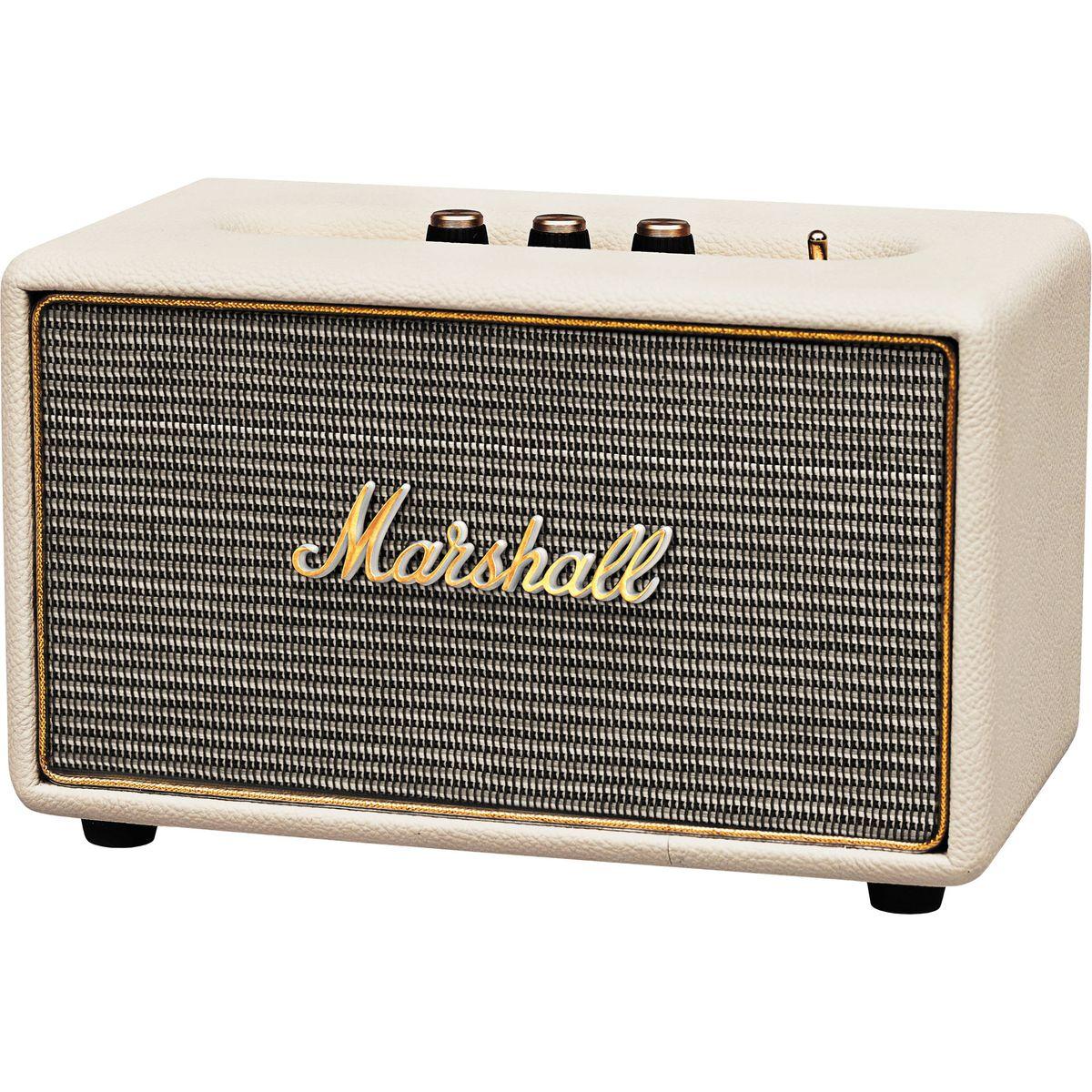 Marshall Acton, Cream акустическая система7340055309875Marshall Acton - самая компактная акустическая система из линейки производителя, выполненная в стиле легендарных гитарных усилителей. Колонка совместима с большинством аудиоустройств, а малые размеры позволяют слушать музыку в любом месте. Для подключения источника можно воспользоваться стандартным 3,5-мм разъемом или установить Bluetooth-соединение. Акустика Marshall Acton оформлена в классическом ретро-стиле, с прочным виниловым покрытием и золотой окантовкой. Все основные органы управления вынесены на верхнюю панель, что делает колонку удобной в эксплуатации, а 4 низкочастотный динамик и два 3/4 твиттера обеспечивают мощный детализированный звук. Marshall Acton - прекрасный выбор для всех любителей качественного звука в сочетании со стильным дизайном. Частота кроссовера: 4200 Гц