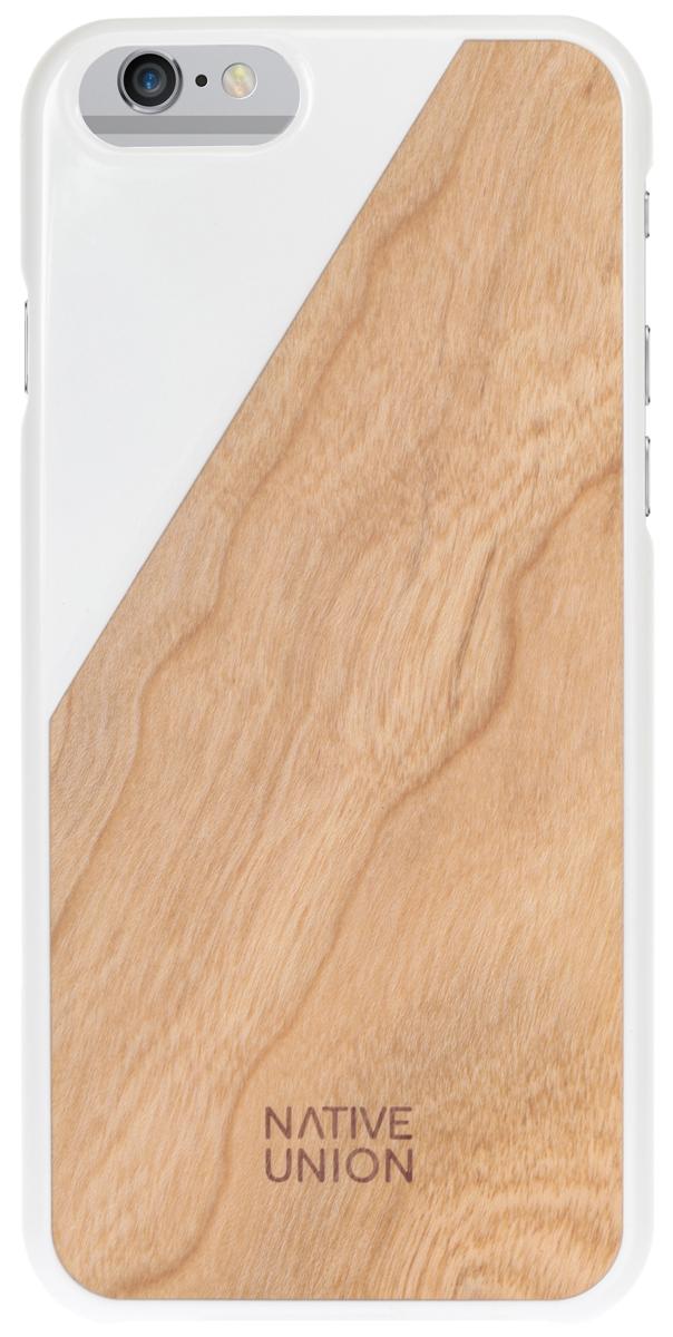 Native Union CLIC Wooden чехол из натурального дерева для iPhone 6/6s, WhiteCLIC-WHT-WD-6Каждый чехол неповторим и уникален. Натуральная древесина обрабатывается вручную, сохраняется естественная фактура, невероятно приятные тактильные ощущения. Использована твердая древесина вишневого дерева и дерева грецкого ореха. Благородные редкие материалы - у вас аксессуар действительно премиум класса. Clic Woodeen удивительно тонкий и легкий - идеально подстраивается под телефон, практически не увеличивая его в размерах. В этом чехле ваш телефон - индивидуальность, также как и вы сами.