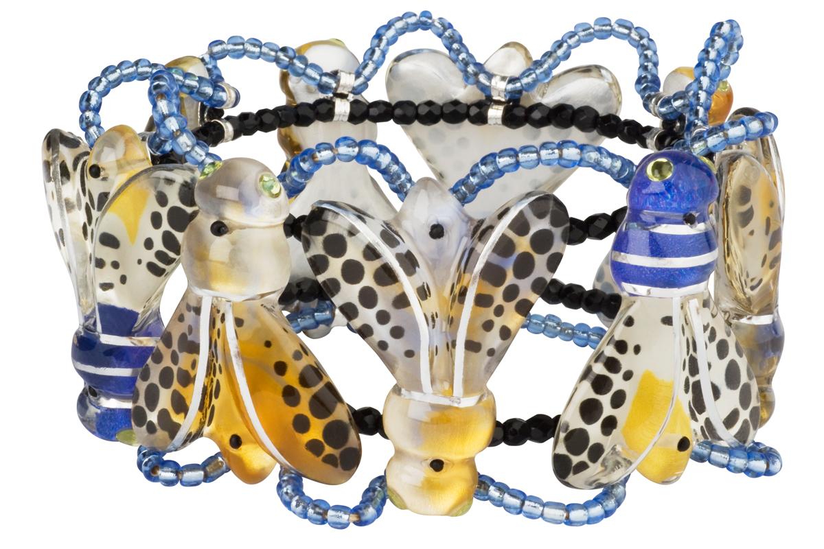 Браслет Lalo Treasures ROW, цвет: голубой, желтый. B2503B2503Яркие дизайнерские акссесуары от Lalo Treasures станут отличным дополнением к Вашему стилю