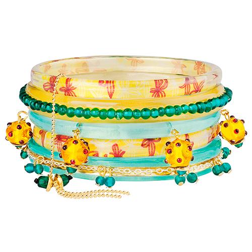 Браслет Lalo Treasures River Running Free, цвет: желтый, бирюзовый. Bn2537Bn2537Яркие дизайнерские акссесуары от Lalo Treasures станут отличным дополнением к Вашему стилю