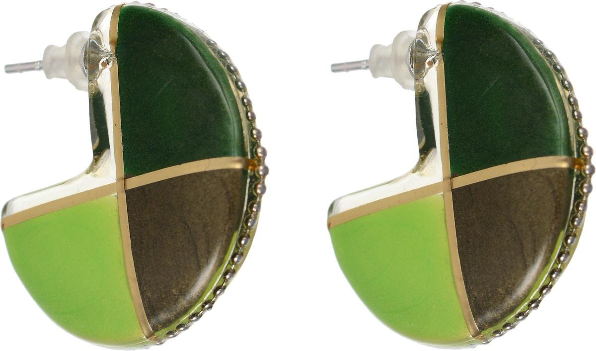 Серьги Lalo Treasures Equinox, цвет: зеленый. E3442-3E3442-3Оригинальные серьги Lalo Treasures Equinox изготовлены из металлического сплава, дополнены декоративными элементами из ювелирной смолы. Изделие застегивается на замок-гвоздик с заглушкой, которая надежно зафиксирует серьги. Стильные серьги не оставят равнодушной ни одну любительницу изысканных украшений и помогут создать собственный неповторимый образ.