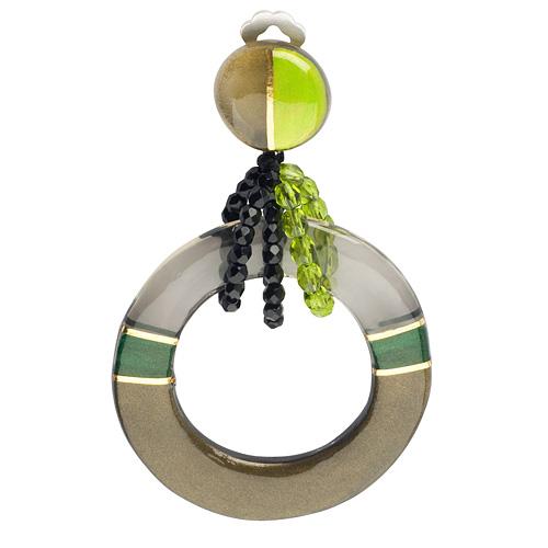 Клипсы Lalo Treasures Time chain, цвет: серый металлик, зеленый. E3444-3E3444-3Яркие дизайнерские акссесуары от Lalo Treasures станут отличным дополнением к Вашему стилю