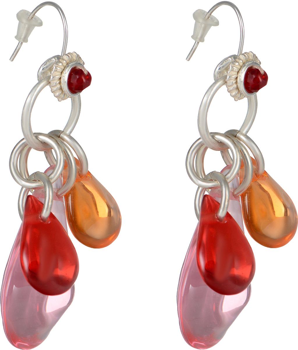 Серьги Lalo Treasures Mon Amour, цвет: розовый, красный, оранжевый. E3469-2E3469-2Оригинальные серьги Lalo Treasures Mon Amour изготовлены из металлического сплава, дополнены подвесками с декоративными элементами из ювелирной смолы. Изделие оснащено замком-петлей с заглушками, который надежно зафиксирует серьги. Стильные серьги Lalo Treasures Mon Amour не оставят равнодушной ни одну любительницу изысканных украшений и помогут создать собственный неповторимый образ.