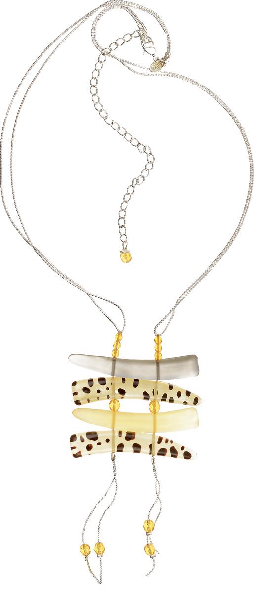 Кулон Lalo Treasures, цвет: желтый, серебряный. P4466-1P4466-1Яркий дизайнерский кулон Lalo Treasures станет отличным дополнением к вашему стилю. Кулон изготовлен из качественной ювелирной смолы и металлического сплава Декоративная часть кулона выполнена в виде композиции из брусков, соединенных между собой пластиковой веревкой. Кулон застегивается на замок-карабин, а длина регулируется с помощью звеньев. Интересный дизайн кулона подчеркнет ваш образ и позволит вам быть оригинальной и изящной.