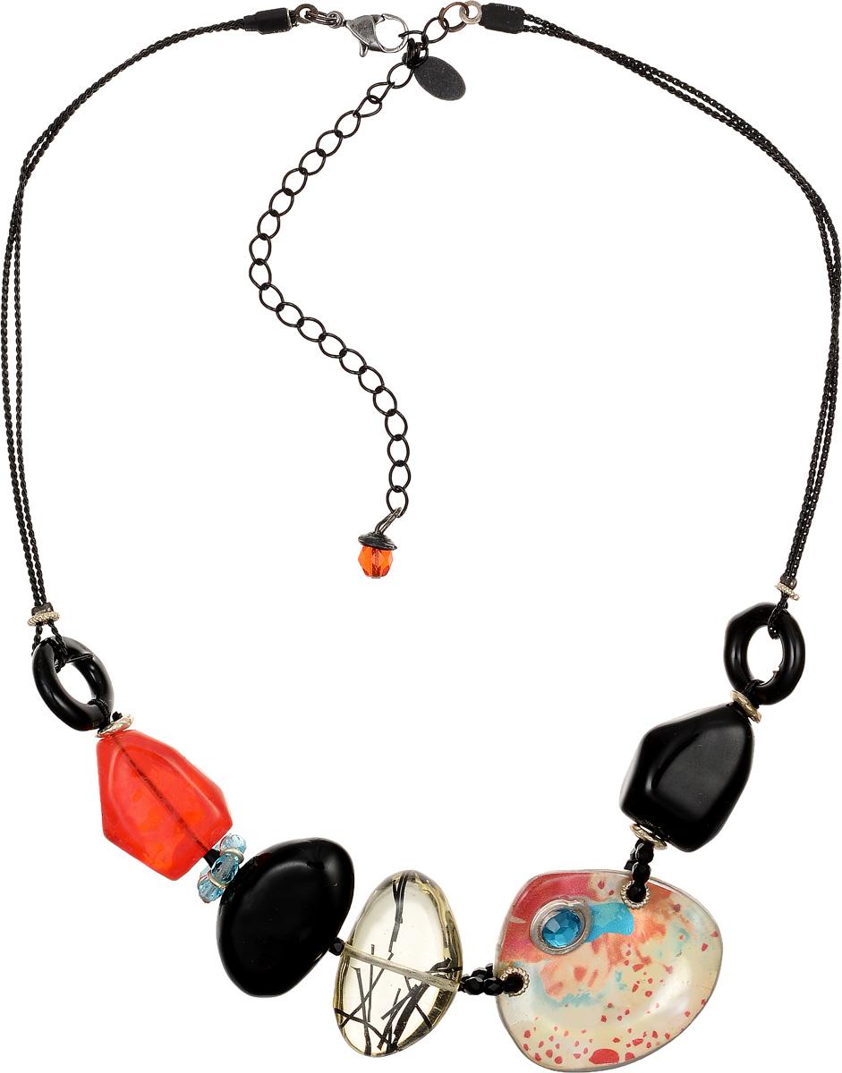 Кулон Lalo Treasures, цвет: черный, оранжевый. P4509-2P4509-2Яркий дизайнерский кулон Lalo Treasures станет отличным дополнением к вашему стилю. Кулон изготовлен из качественной ювелирной смолы и металлического сплава. Декоративная часть кулона выполнена в виде фигурок камней разной формы и цвета, соединенных между собой пластиковой веревкой, украшенной бусинками. Кулон застегивается на замок-карабин, а длина регулируется с помощью звеньев.. Интересный дизайн кулона подчеркнет ваш образ и позволит вам быть оригинальной и изящной.