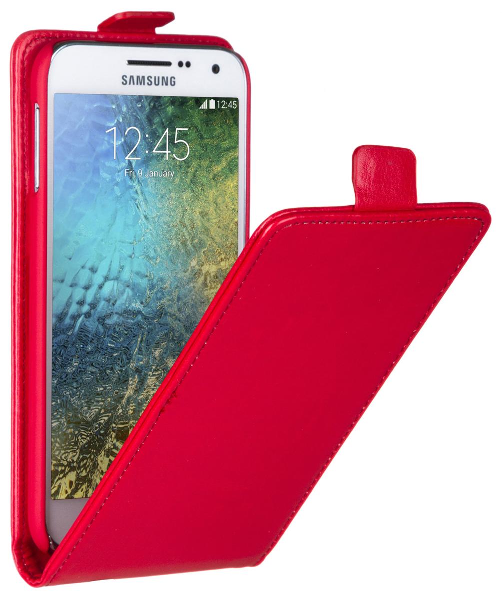 Skinbox Flip Case чехол для Samsung Galaxy E5, Red2000000058467Чехол Skinbox Flip Case для Samsung Galaxy E5 выполнен из высококачественного поликарбоната и экокожи. Он обеспечивает надежную защиту корпуса и экрана смартфона и надолго сохраняет его привлекательный внешний вид. Чехол также обеспечивает свободный доступ ко всем разъемам и клавишам устройства.