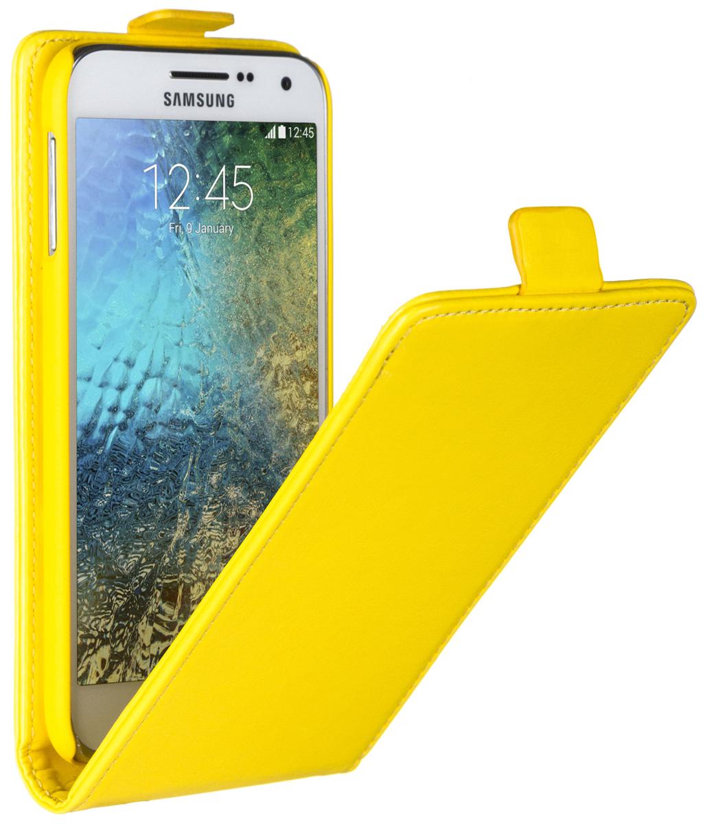 Skinbox Flip Case чехол для Samsung Galaxy E5, Yellow2000000058474Чехол Skinbox Flip Case для Samsung Galaxy E5 выполнен из высококачественного поликарбоната и экокожи. Он обеспечивает надежную защиту корпуса и экрана смартфона и надолго сохраняет его привлекательный внешний вид. Чехол также обеспечивает свободный доступ ко всем разъемам и клавишам устройства.