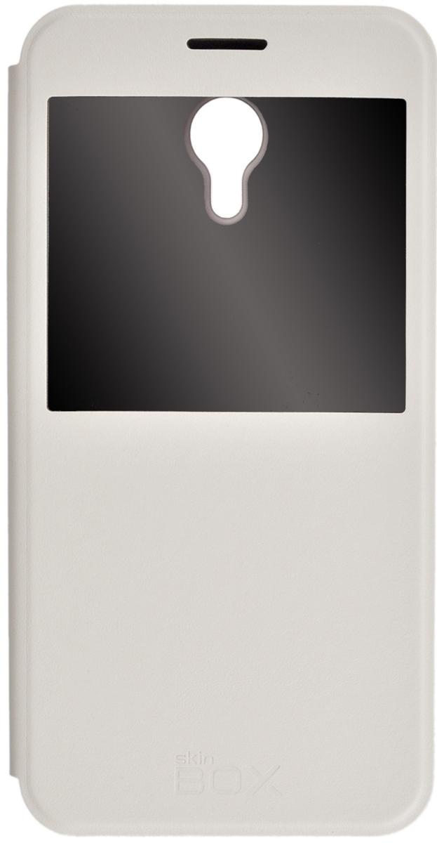 Skinbox Lux AW чехол для Meizu M2 Note, White2000000078632Чехол Skinbox Lux AW для Meizu M2 Note выполнен из высококачественного поликарбоната и экокожи. Он обеспечивает надежную защиту корпуса и экрана смартфона и надолго сохраняет его привлекательный внешний вид. Чехол также обеспечивает свободный доступ ко всем разъемам и клавишам устройства. Благодаря функциональному окну отсутствует необходимость открывать чехол для того, чтобы ответить на вызов, проверить время, воспользоваться камерой или любой другой функцией.