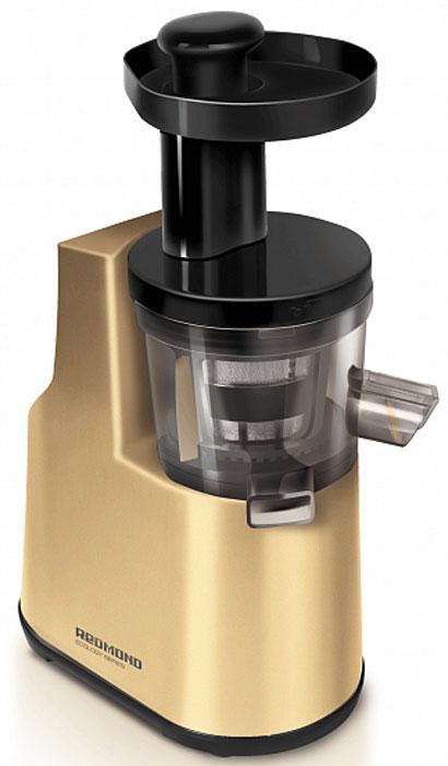 Redmond RJ-910S, Gold соковыжималкаRJ-910S_GoldШнековая соковыжималка Redmond RJ-910S – непревзойдённая новинка в ряду топовых моделей. Премиальный дизайн, роскошный золотистый цвет, высококачественные и экологически чистые материалы не оставят равнодушными даже самых претенциозных поклонников здорового образа жизни. Соковыжималка 910S обладает целым рядом завидных преимуществ: это и плавный пуск мотора, и мощный DC- двигатель, и прорезиненные ножки для лучшей устойчивости, и защита от перегрева. Данная модель отжимает сок практически из всех видов продуктов: овощей, фруктов, ягод, трав, кореньев и отлично справляется с твёрдыми продуктами. Бережный отжим позволяет получить много полезного сока без нагревания и окисления. Скорость вращения шнека: 80 об/мин Размер горловины: 34 х 44 мм Объем чаши сепаратора: 0,5 л Максимальное время непрерывной работы: 20 минут Интервал между включениями: 5 минут