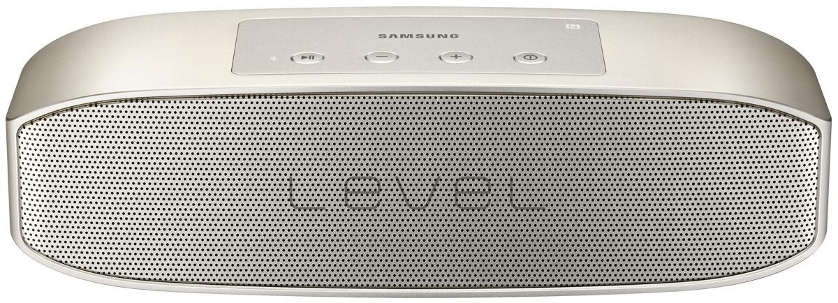 Samsung EO-SG928TFE Level Box Pro, Gold беспроводная аудиоколонкаEO-SG928TFEGRUНаслаждайтесь звуком студийного качества с компактной колонкой Samsung Level Box Pro. При воспроизведении используется современный кодек UHQ-BT, сокращающий потерю звучания. За счет расположенных внутри колонки четырех динамиков и двух пассивных радиаторов звук одинаково чистый на любых частотах - и басах, и верхах, и средних. Мощность в 20 Ватт обеспечивает отличную громкость даже в помещениях большой площади. Функция TTS преобразует звук в голос и выполняет роль вашего личного помощника - напоминает о планах на день и сообщениях. При одновременном включении двух колонок Samsung Level Box Pro можно получить стереозвук еще более мощного звучания. Колонку можно подключить к двум устройствам - планшету и смартфону - при помощи Bluetooth или NFC. Колонка обладает интуитивно понятным управлением - на ее корпусе располагаются всего 4 кнопки - включения/выключения, воспроизведения/паузы, регулировки громкости, переключения трека. Ее удобно ...