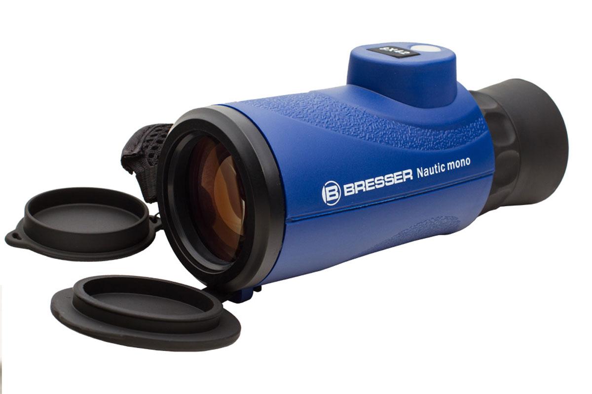 Bresser Nautic 8x42 монокуляр1866860Bresser Nautic 8x42 – это легкий и компактный монокуляр с 8-кратным увеличением, идеальный для морских путешествий и наблюдений в неблагоприятных погодных условиях. Превосходная оптика дает качественное изображение, а эргономичный корпус делает использование монокуляра максимально комфортным. Оптические детали прибора изготовлены из стекла BaK-4 и имеют полное многослойное просветление. Благодаря этому картинка отличается яркостью и четкостью, а искажения сведены к минимуму. Азотное наполнение корпуса предотвращает запотевание оптики даже при резких перепадах температур. Для точного ориентирования во время наблюдений прибор имеет встроенный компас и дальномерную сетку. Монокуляр выполнен в прочном герметичном корпусе с резиновым покрытием. Ремешок для руки позволяет надежно удерживать прибор во время наблюдения. Монокуляр значительно компактнее и легче бинокля, поэтому его удобнее брать с собой.