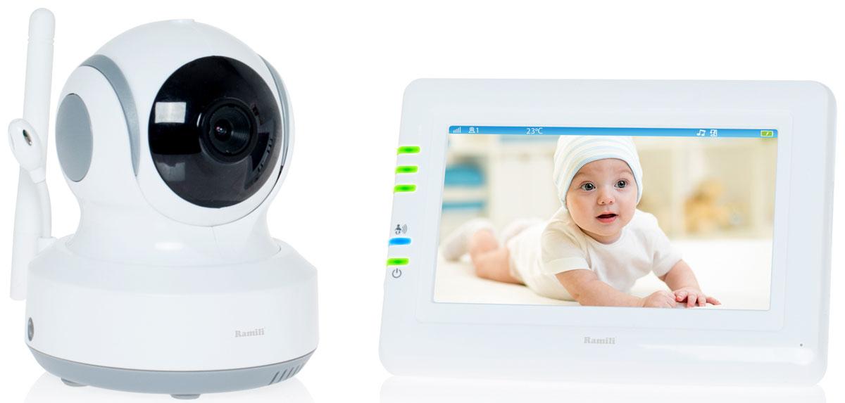 Ramili Baby RV900, White видеоняняRV900_WhiteДальность 300 метров. Дисплей 11 см (4,3 дюйма). Двухсторонняя связь. Удаленное управление поворотом. Активация при плаче (VOX). Непрерывный мониторинг. Детектор движения. Автоматический поворот камеры за передвижением ребенка.
