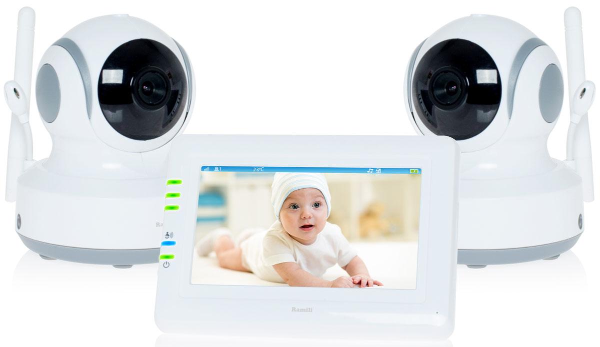 Ramili Baby RV900X2, White видеоняняRV900X2Две камеры в комплекте. Дальность 300 метров. Дисплей 11 см (4,3 дюйма). Двухсторонняя связь. Удаленное управление поворотом. Активация при плаче (VOX). Непрерывный мониторинг. Детектор движения. Автоматический поворот камеры за передвижением ребенка.