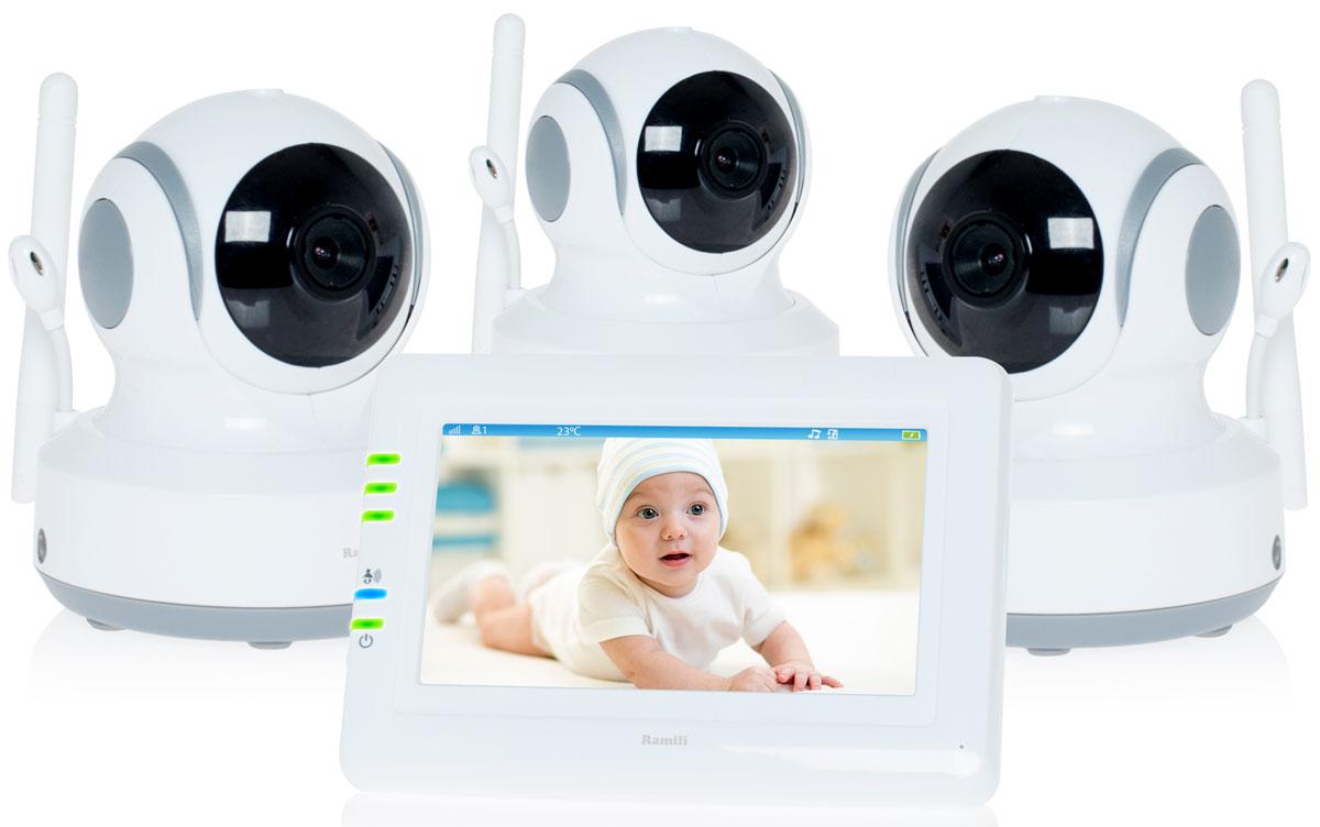 Ramili Baby RV900X3, White видеоняняRV900X3Три камеры в комплекте. Дальность 300 метров. Дисплей 11 см (4,3 дюйма). Двухсторонняя связь. Удаленное управление поворотом. Активация при плаче (VOX). Непрерывный мониторинг. Детектор движения.