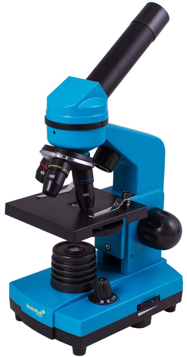 Levenhuk Rainbow 2L, Azure микроскопXSP-1406 plastic Pantone #313CЧтобы учеба была эффективной, важно, чтобы она приносила удовольствие. Со школьным микроскопом Levenhuk Rainbow 2L занятия по биологии станут по-настоящему интересными, ведь самостоятельное исследование микромира гораздо увлекательнее, чем сухое изложение материала в учебнике. В комплект входит все необходимое для первых биологических опытов. Кроме того, благодаря стильному и яркому корпусу, микроскоп привлекает внимание - таким подарком приятно похвастаться перед одноклассниками. Качественная оптика: Все линзы микроскопа сделаны из специального оптического стекла, которое отличается высокой прозрачностью. Дополнительно на оптические поверхности нанесено многослойное просветляющее покрытие - оно повышает светопропускание оптики и улучшает качество изображения. Эта модель поставляется в комплекте с тремя объективами - микроскоп дает увеличение от 40 до 400 крат. Менять кратность очень просто - для этого нужно только повернуть револьверное устройство. ...