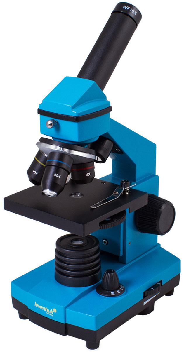 Levenhuk Rainbow 2L Plus, Azure микроскопXSP-42 metal Pantone #313CМикроскоп Levenhuk Rainbow 2L Plus понравится и школьнику, увлекающемуся биологией, и студенту-медику, проводящему десятки различных исследований. У этой модели много достоинств: качественная просветленная оптика, увеличение от 64 до 640 крат, возможность изучения прозрачных и непрозрачных препаратов, надежная конструкция. Те, кто только начинает знакомство с микромиром, оценят набор для опытов, который идет в комплекте. Кроме того, благодаря яркому и стильному дизайну Levenhuk Rainbow 2L Plus сразу выделяется на фоне стандартных биологических микроскопов. Оптика высокого качества: От качества оптики зависит качество изображения, поэтому при производстве серии Levenhuk Rainbow 2L Plus использованы только лучшие материалы. Все линзы сделаны из специального оптического стекла - оно отличается высокой прозрачностью и не искажает картинку. Дополнительно на оптические поверхности нанесено многослойное просветляющее покрытие, которое повышает коэффициент...