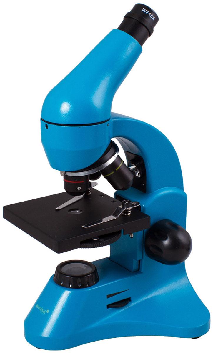 Levenhuk Rainbow 50L Plus, Azure микроскопXSP-45 metal Pantone #313CУчеба или лабораторные исследования станут увлекательнее с микроскопом Levenhuk Rainbow 50L Plus. Новичкам пригодится набор для проведения экспериментов, а опытные исследователи оценят превосходные оптические характеристики, эргономичность и надежность прибора. Благодаря яркому революционному дизайну микроскоп станет идеальным подарком для всех, кто интересуется биологией. Качественная оптика: Три объектива позволяют получить увеличения 64, 160 и 640 крат. В конструкции объектива 40xs используется особый пружинный механизм, который защищает оптику от повреждений. Благодаря этому механизму объектив отодвинется, если при фокусировке случайно коснуться им препарата. В комплект входит линза Барлоу, повышающая кратность прибора с каждым объективом. Уже в базовой комплектации микроскоп позволяет получить увеличение до 1280 крат! Линзы сделаны из качественного оптического стекла и покрыты просветляющим составом, так что картинка получается...
