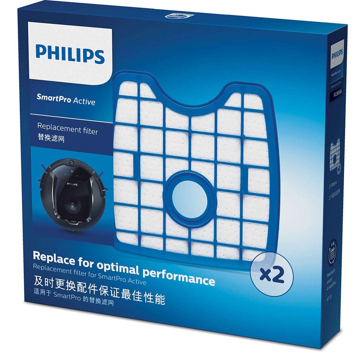 Philips FC8066/01 набор аксессуаров для робот-пылесосов SmartPro ActiveFC8066/01В комплект Philips FC8066/01 входят 2 фильтра выходящего воздуха, каждый фильтр необходимо заменять один раз в четыре месяца для продления срока службы робота-пылесоса и поддержания оптимальной производительности.