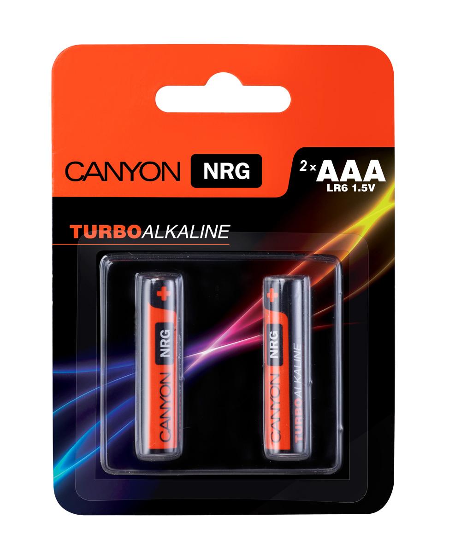 Батарейка алкалиновая Canyon NRG, тип AAA (LR03), 2 штALKAAA2Щелочная технология идеально подходит для устройст с высоким энергопотреблением, щелочные батареи в 6 раз лучше обычных солевых батарей, батарея остается годной для использования в течении 5 лет, щелочные батареи Canyon NRG содержат 0% кадмия и ртути.