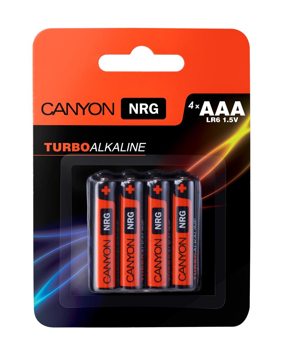 Батарейка алкалиновая Canyon NRG, тип AAA (LR03), 4 штALKAAA4Щелочная технология идеально подходит для устройст с высоким энергопотреблением, щелочные батареи в 6 раз лучше обычных солевых батарей, батарея остается годной для использования в течении 5 лет, щелочные батареи Canyon NRG содержат 0% кадмия и ртути.