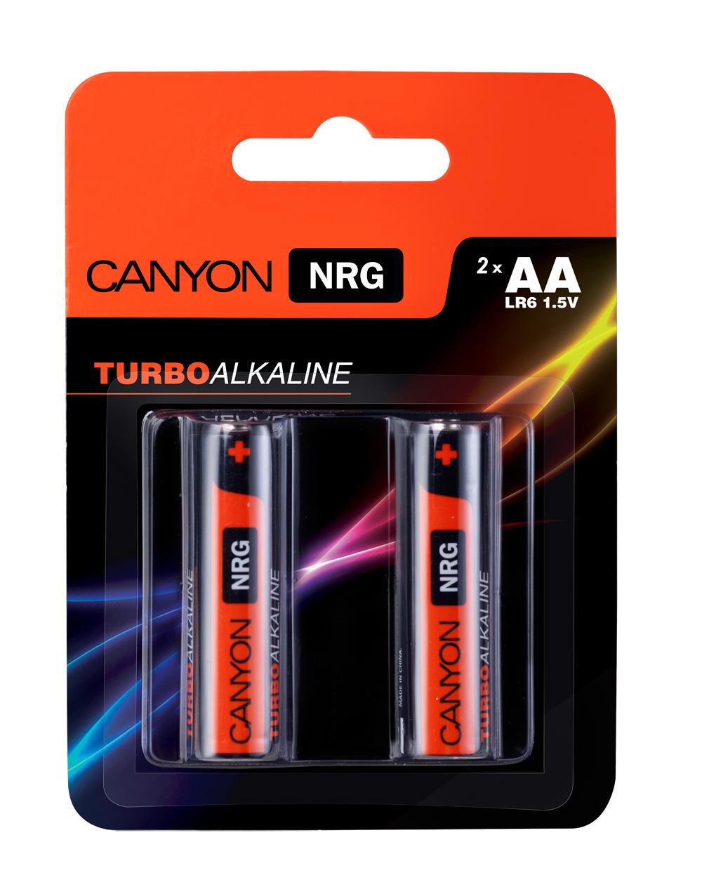Батарейка алкалиновая Canyon NRG, тип AA (LR6), 2 штALKAA2Щелочная технология идеально подходит для устройств с высоким энергопотреблением, щелочные батареи в 6 раз лучше обычных солевых батарей, батарея остается годной для использования в течении 5 лет, щелочные батареи Canyon NRG содержат 0% кадмия и ртути.